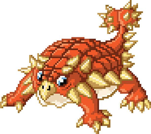 Cute Pixel Art Ankylosaurus Dinosaur vector art illustration