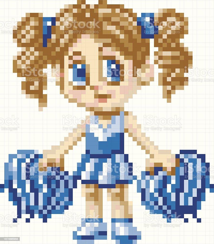 Cute Pixel Art Cheerleader Girl with Pom Poms vector art illustration