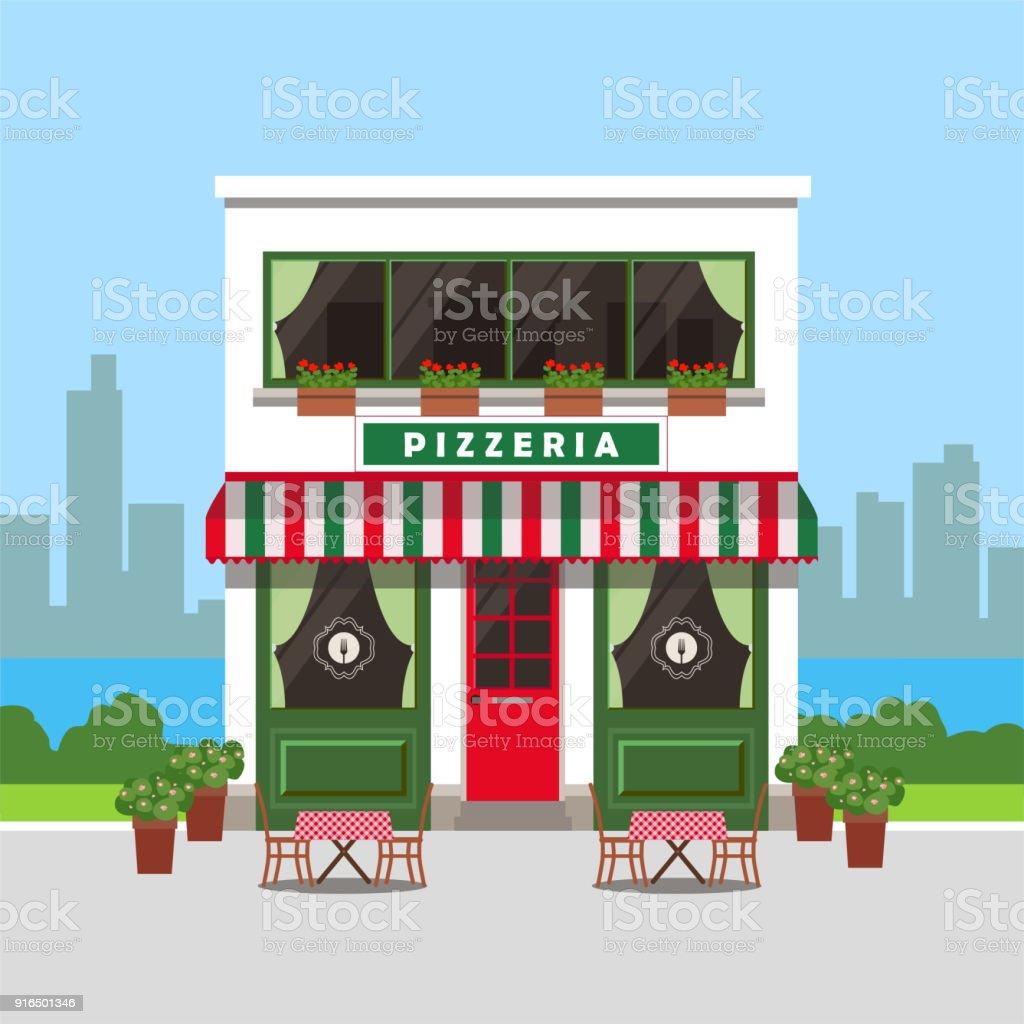 Ilustración de Pizzería Lindo Edificio Con Mesas Exteriores Y ...