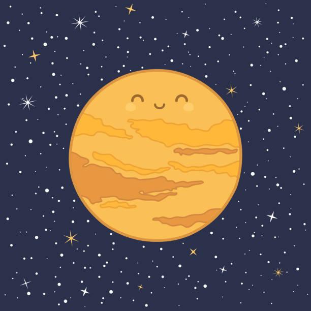 illustrations, cliparts, dessins animés et icônes de planète mignonne vénus système solaire vecteur - venus