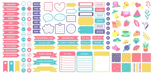 Cute planner stickers. Organizer tags, color patterns and calendar icons. Check, planners and weekly days label vector set
