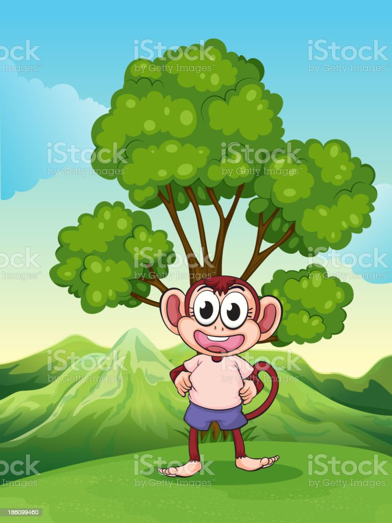 cute playful monkey at  hilltop standing under the tree royalty-free stock vector art