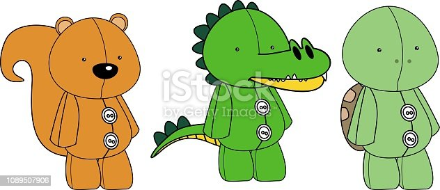 cute plush animals toy cartoon standing collection set in vector format