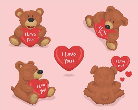 Cute Plush Teddy Bear with heart. Set love vector illustration