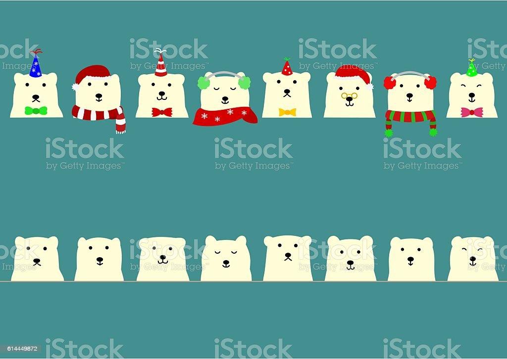 Cute polar bear border vector art illustration
