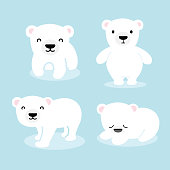 Cute Polar Bear Cartoon. Vector Illustration.