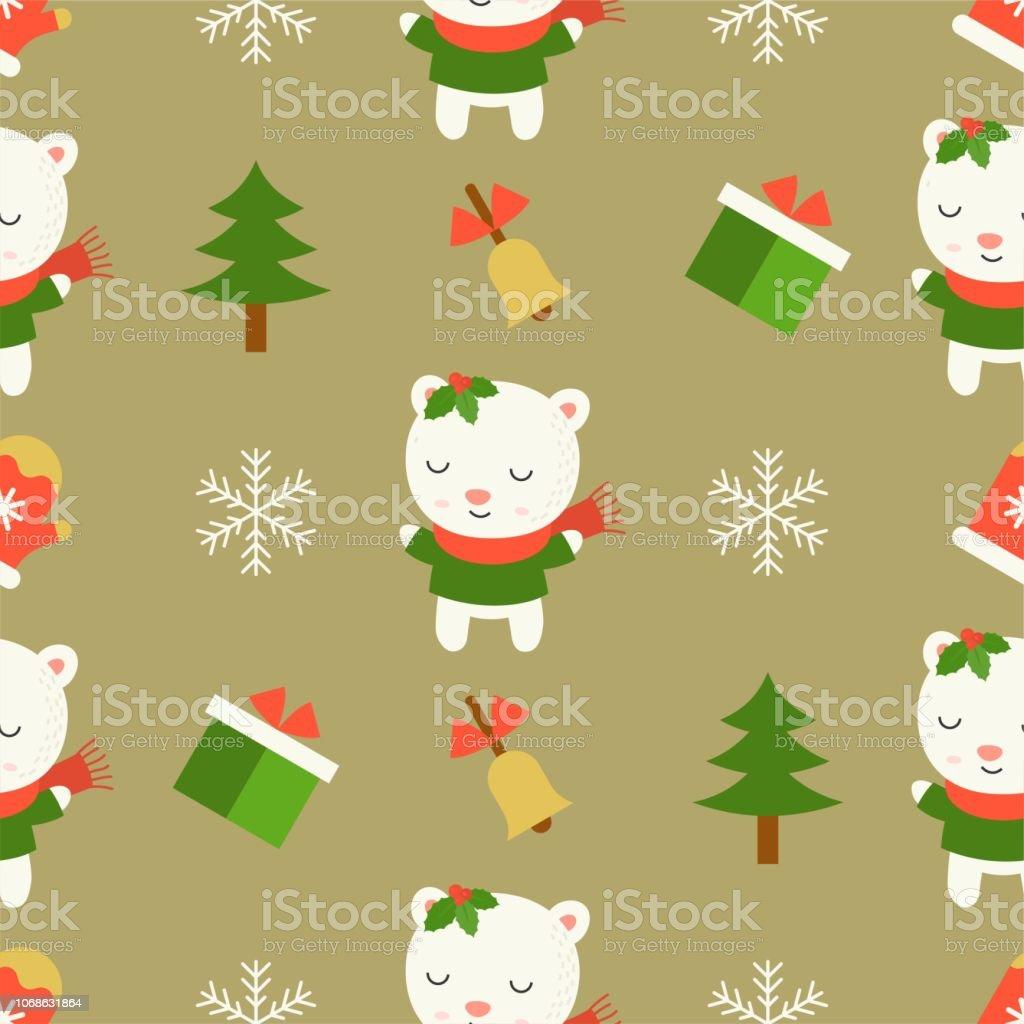 かわいいシロクマクリスマスのシームレス パターン テーマ壁紙包装紙ギフトとして使用するため いたずら書きのベクターアート素材や画像を多数ご用意 Istock