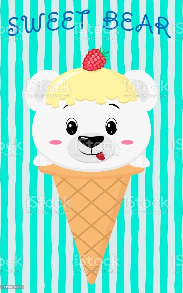Cute polar bear in the image of ice cream, cartoon style - Grafika wektorowa royalty-free (Baner)