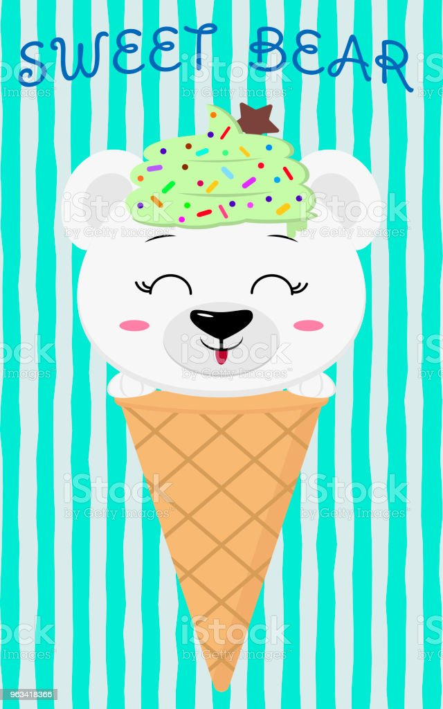 Cute polar bear in the image of ice cream, cartoon style - Grafika wektorowa royalty-free (Baner)