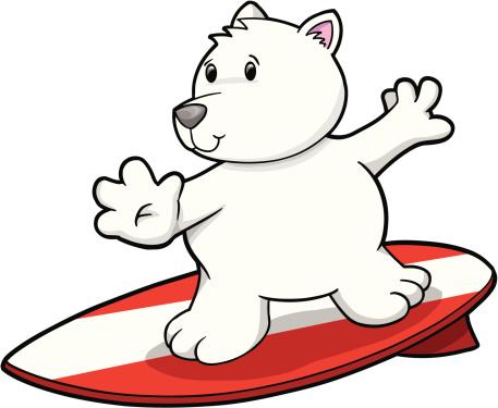 Cute Polar bear Surfing