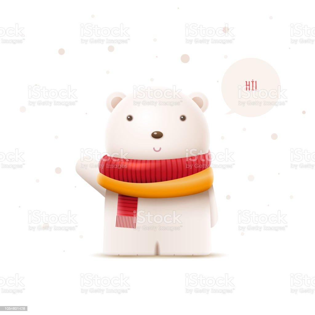 Şirin kutup ayısı karakter illüstrasyon vektör. vektör sanat illüstrasyonu