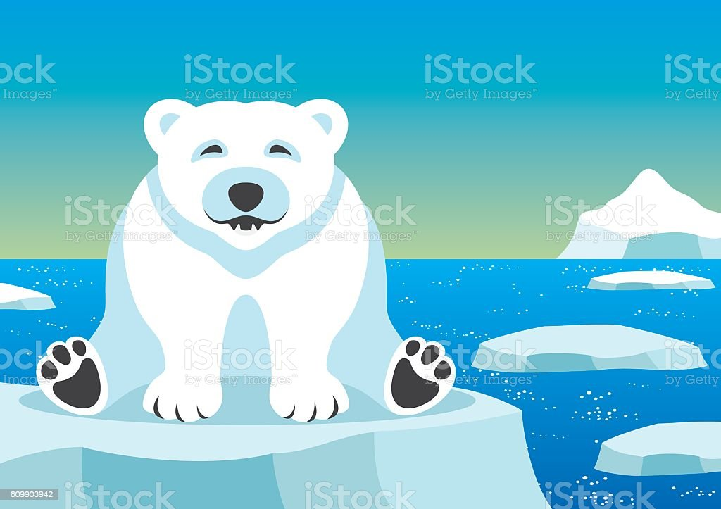 Cute polar bear. vector art illustration