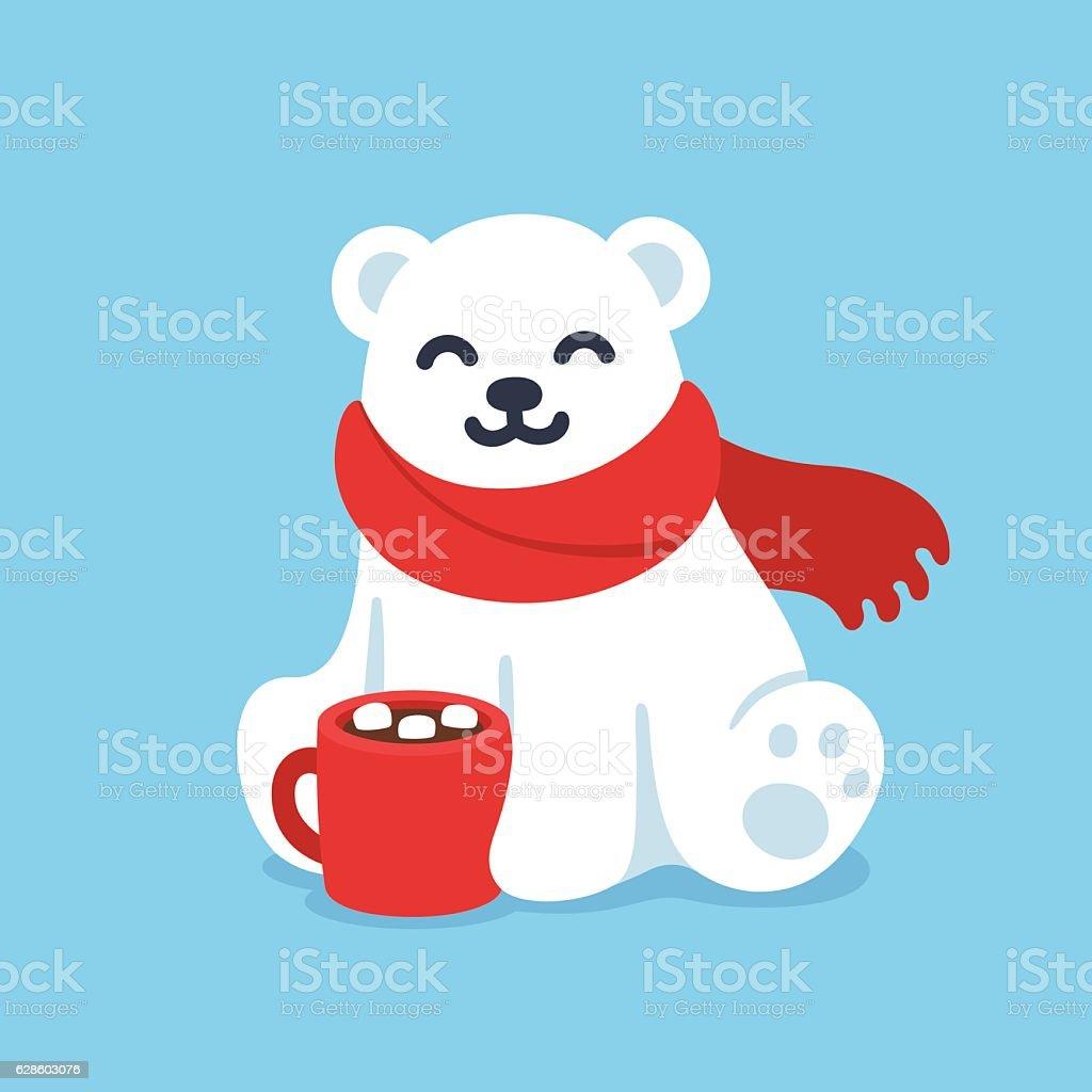 Cute polar bear with hot chocolate cup vector art illustration