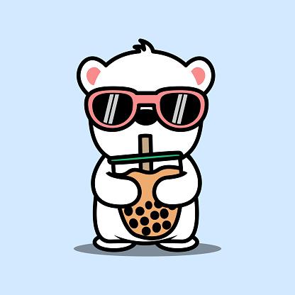 Cute polar bear with sunglasses drinking bubble tea cartoon, vector illustration