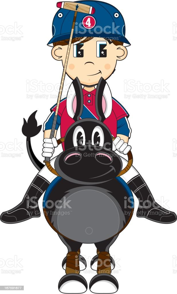 Cute Polo Player on Horse royalty-free stock vector art