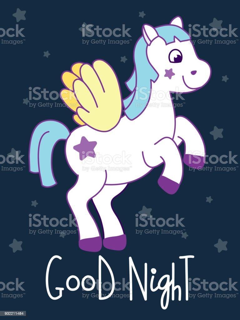 Carte De Poney Mignon Avec Citation Bonne Nuit Vecteurs