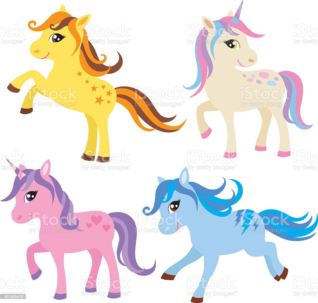 Cute Pony, Unicorn and Horse Set vector art illustration