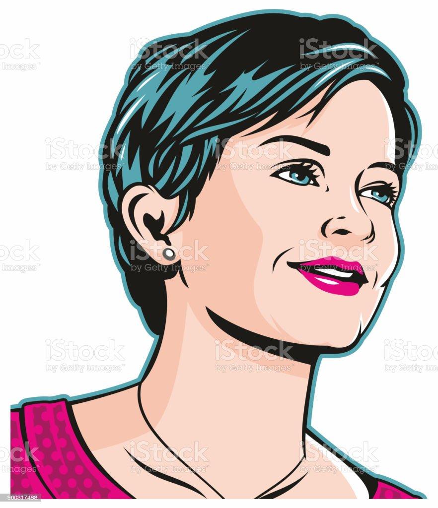 Cute Pop Art Girl vector art illustration