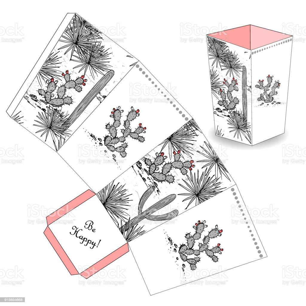 Süße Popcornbox Mit Hand Gezeichneten Skizze Kaktus Gunst ...