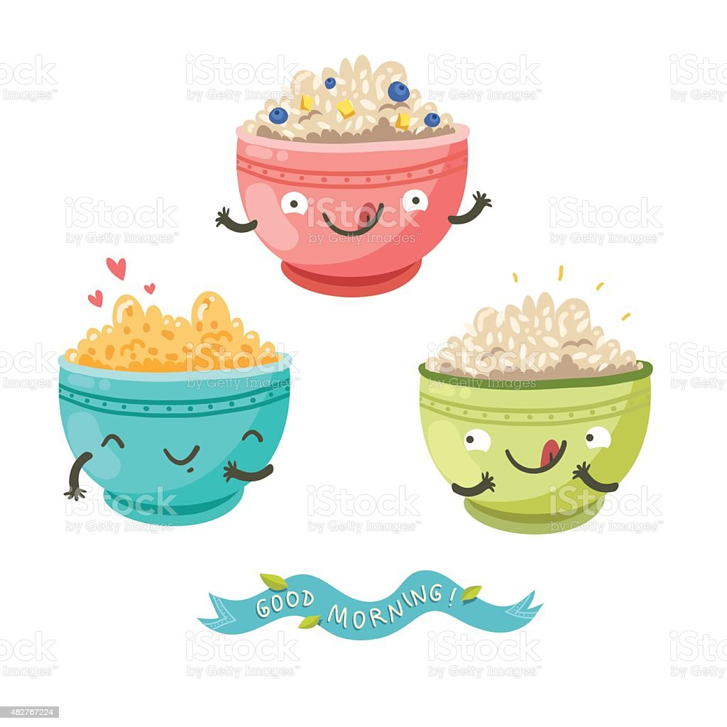 Cute porridge characters and 'Good morning!' ribbon vector art illustration