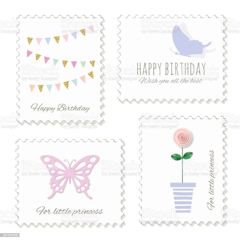 Cute Postage Stamps For Birthday Or Scrapbook Design Decorative