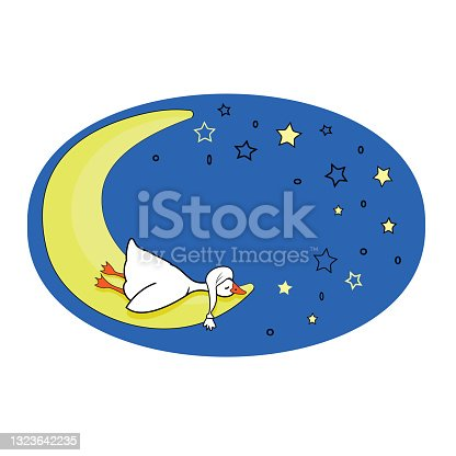 istock Cute postcard. A small white goose sleeps on the moon, in a night sky 1323642235