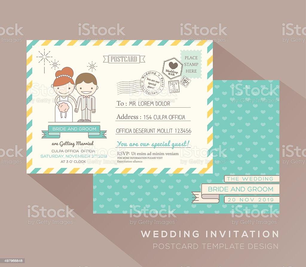 Süße Postkarte Hochzeit Karte Designvorlage Vektor Illustration ...