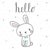 Cute postcard with funny rabbit. Card with hello text for little boy. Template for your design. Vector illustration