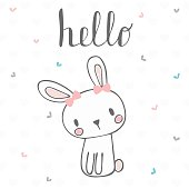 Cute postcard with funny rabbit. Card with hello text for little girl. Template for your design. Vector illustration