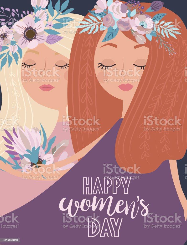 かわいいパステル カラーの花と妖精国際女性の日ポスター