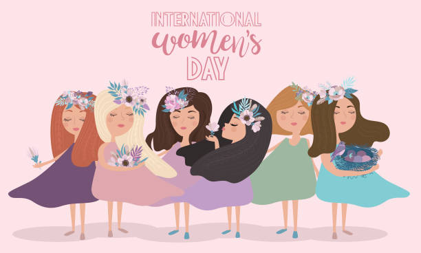 """cute poster in pastel color """"international women's day"""" with flowers and fairy - international womens day stock illustrations, clip art, cartoons, & icons"""