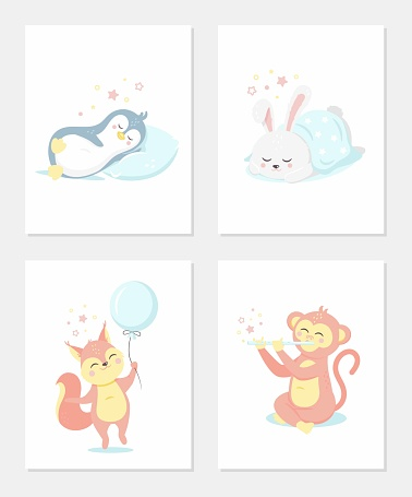 Cute posters with a little penguin, rabbit, monkey and squirrel vector prints for baby nursery