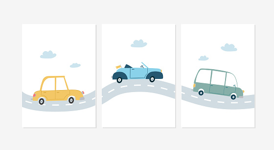 Cute posters with car vector prints for baby room, baby shower, greeting card, kids and baby t-shirts, and wear. Hand drawn nursery