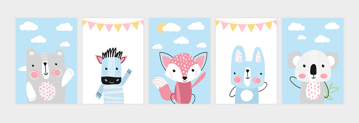 Cute posters with little bear, zebra, fox, hare, koala