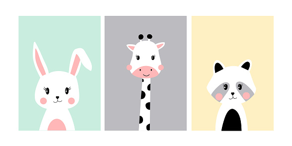 Cute posters with little bunny, giraffe, raccoon vector prints for baby room, baby shower, greeting card, kids and baby t-shirts and wear. Hand drawn nursery