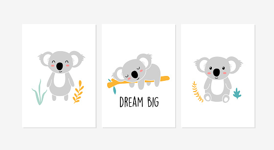 Cute posters with little koala vector prints for baby room, baby shower, greeting card, kids and baby t-shirts and wear. Hand drawn nursery