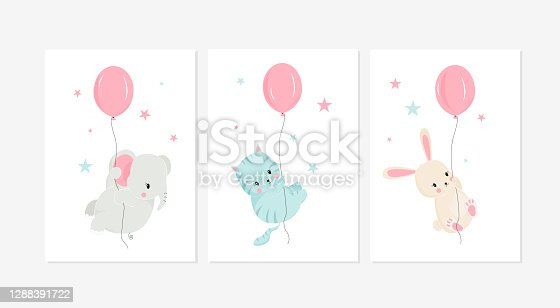 Cute posters with little rabbit, elephant, and cat vector prints for baby room, baby shower, greeting card, kids and baby t-shirts, and wear. Hand drawn nursery
