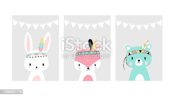 Cute posters with little rabbit, fox and bear vector prints for baby room, baby shower, greeting card, kids and baby t-shirts and wear. Hand drawn nursery