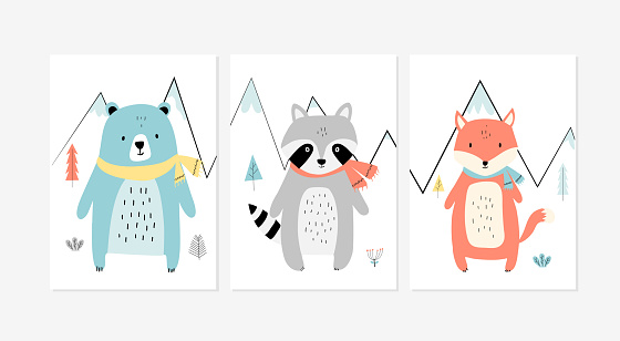 Cute posters with the little fox, raccoon, and bear vector prints for baby room, baby shower, greeting card, kids and baby t-shirts, and wear. Hand drawn nursery