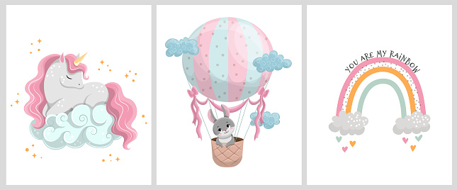 Cute posters with the sweet animals and balloon