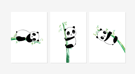 Cute posters with the sweet pandas vector prints for baby room, baby shower, greeting card, kids and baby t-shirts, and wear.