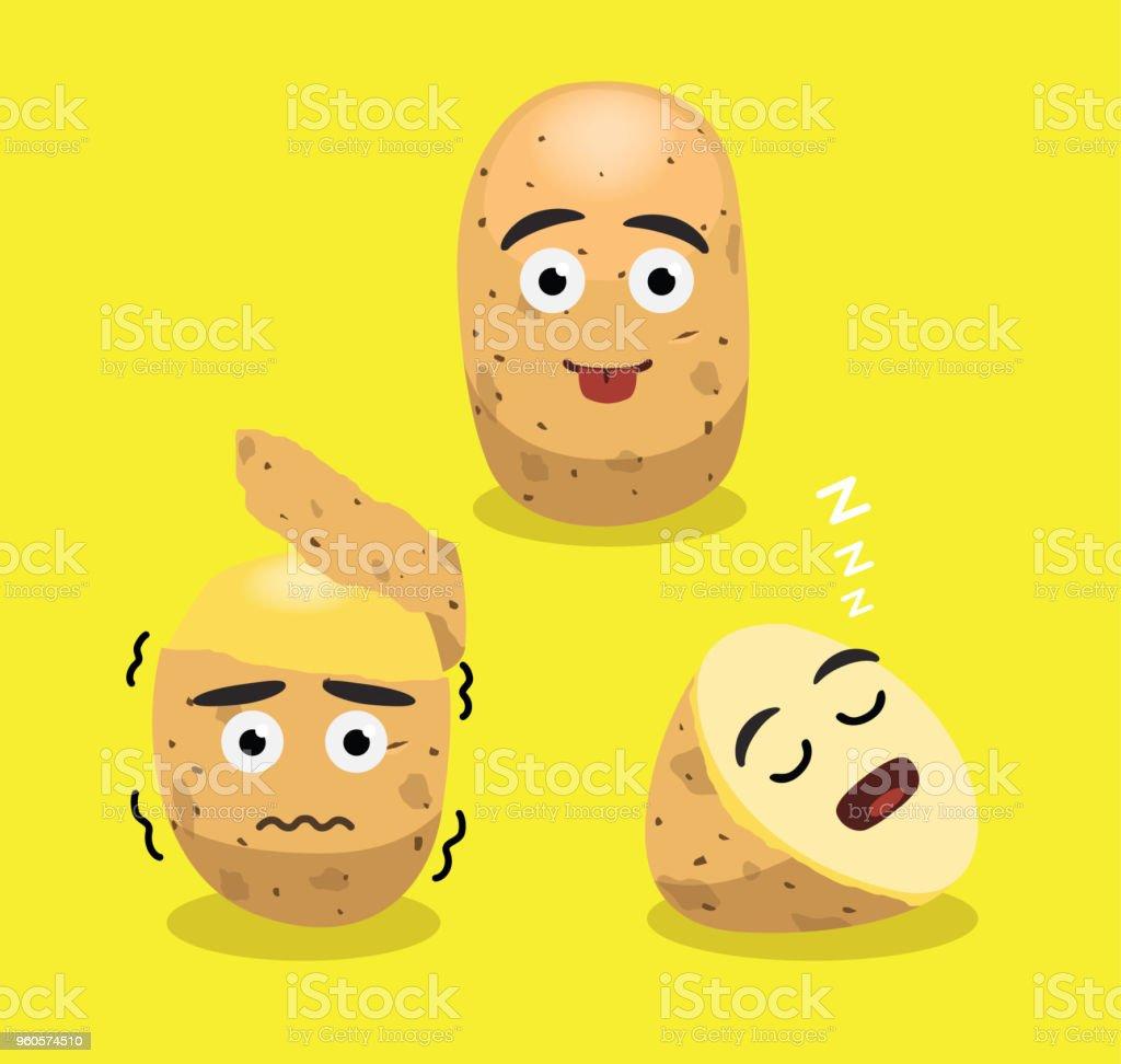 Cute Potato Cartoon Emotions Vector Illustration vector art illustration