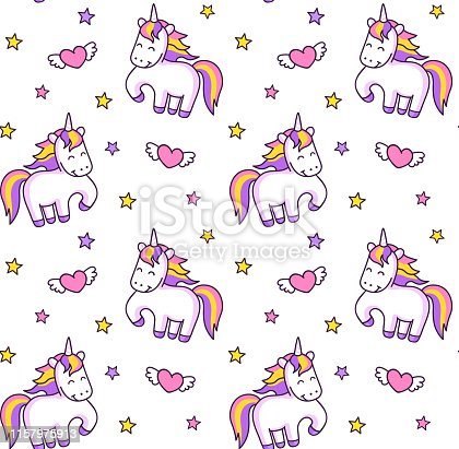 Cute prancing unicorns, stars and winged hearts.