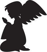 Cute Praying Angel Silhouette