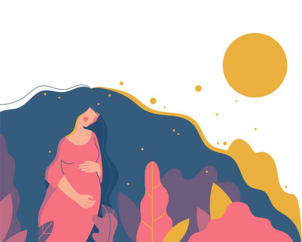 ilustrações, clipart, desenhos animados e ícones de mulher grávida bonita andando. - novo bebê