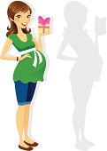 A cute pregnant woman in a fashionable casual outfit holding a gift. The gift is easily removed in Ai (also removable in her shadow and silhouette)to have her gesturing.