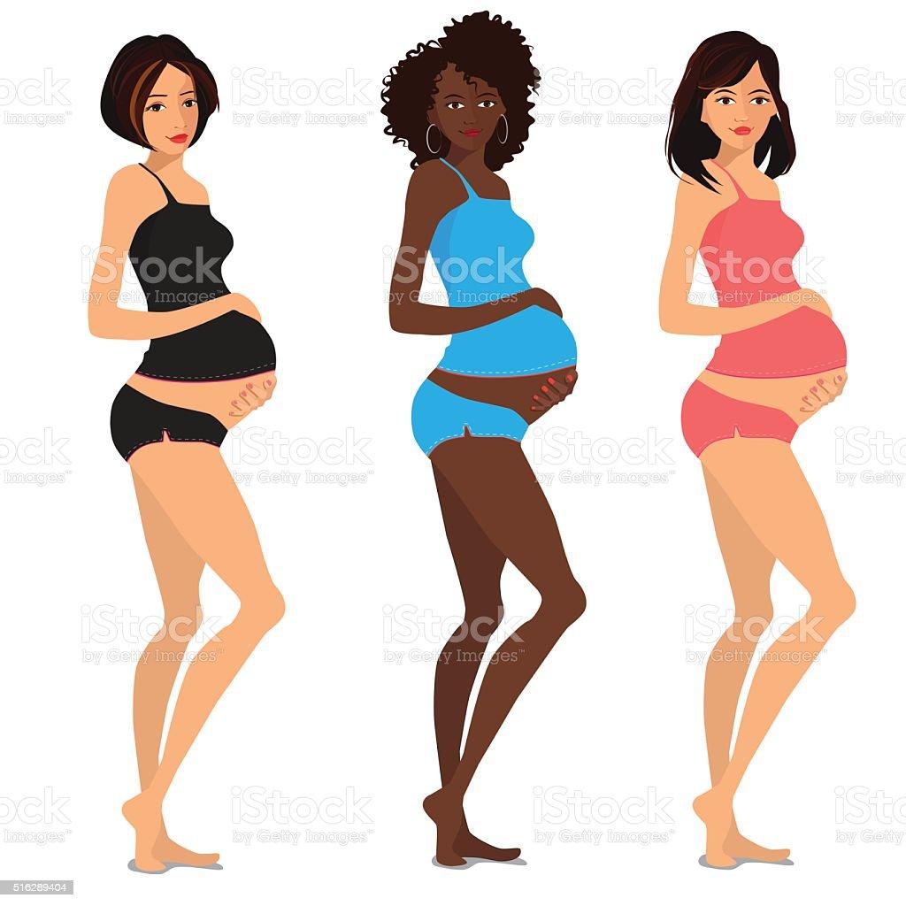 Cute pregnant women vector art illustration