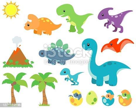 istock Cute Prehistoric Dinosaur and Background Vector Illustration Set 1271159595
