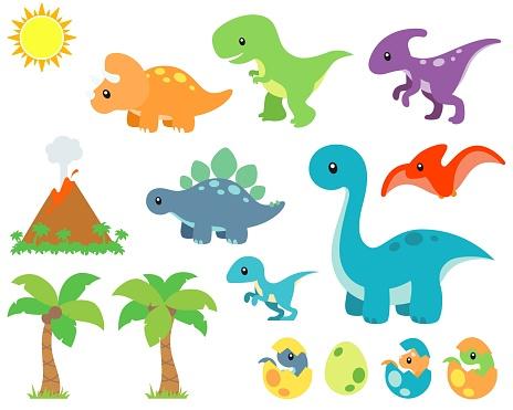 Cute Prehistoric Dinosaur and Background Vector Illustration Set