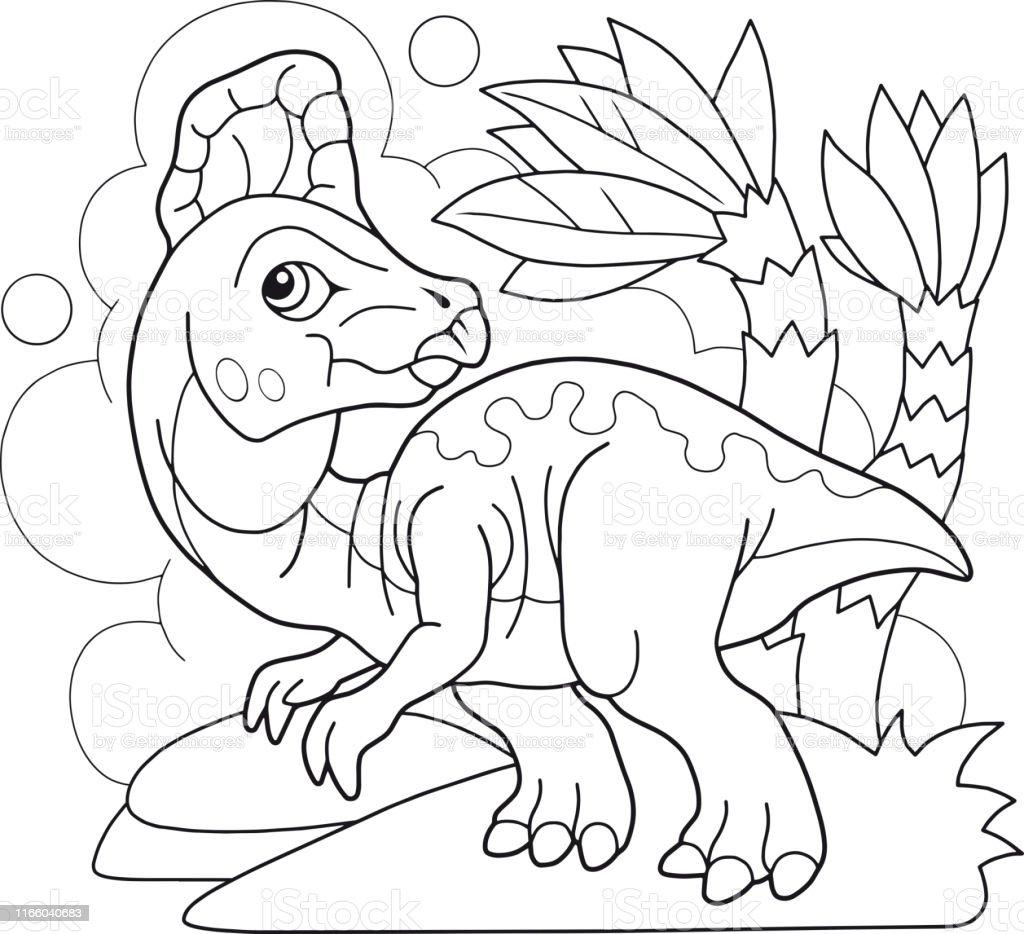 Sevimli Tarih Oncesi Dinozor Corythosaurus Boyama Kitabi Komik